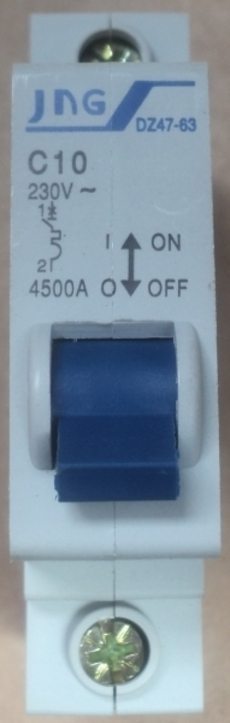 Disjuntor (modelo: DZ47-64 C10 10A)
